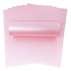 10 Sheets of A4 Powder Pink Pearlescent Double Sided Card 300gsm