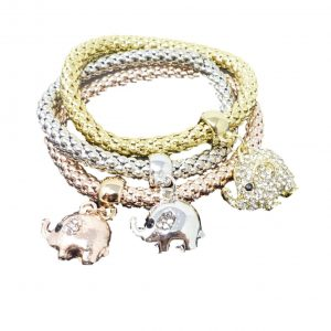 3 Colour Triple Charm Stretch Bracelet With Sparkly Rhinestones