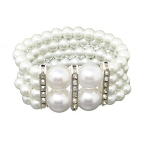 Large White Pearl and Diamante Stretch Bracelet With Sparkly Rhinestones