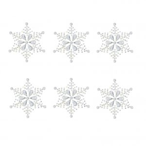 6 x large snowflake embellishments sparkly resin rhinestone self adhesive