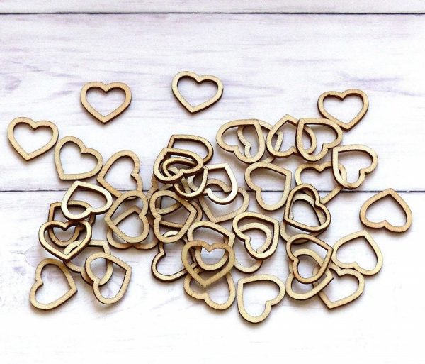 100pcs Wooden Heart Confetti Rustic Scatter Hearts Wedding Table Decoration