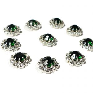 10 Small Round Diamante Embellishments With Large Emerald Green center stone Rhinestone 12mm