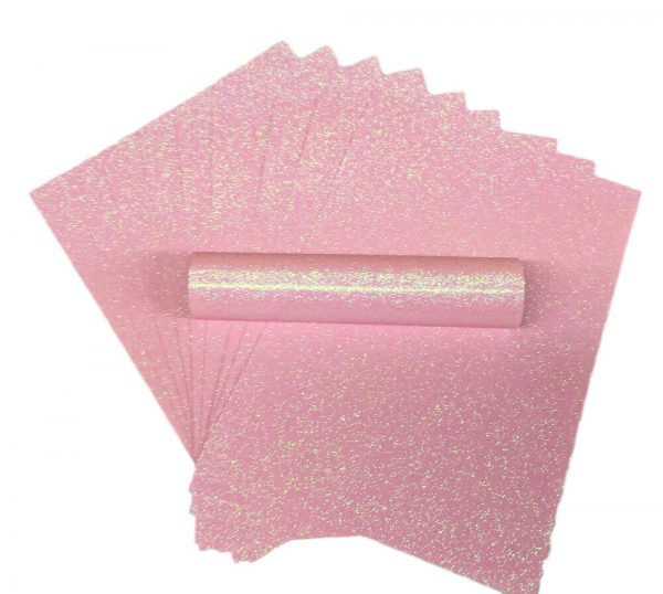 A4 Pale Pink Iridescent Glitter Paper Soft Touch Non Shed 150gsm Pack of 10 Sheets