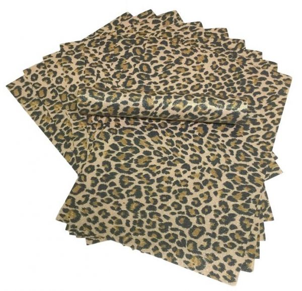 A4 LEOPARD SPOT Glitter Paper Soft Touch Non Shed 100gsm Pack of 10 Sheets