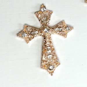 10 Rose Gold filigree cross diamante embellishment approx 3.3cm x 2.75