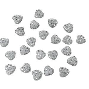 50pcs Silver Stardust Glitter Heart Shaped Gems 11mm Flat Back