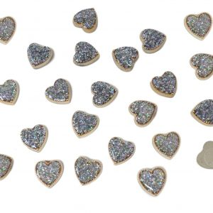 25pcs Gold Resin Hearts Filled with Iridescent Glitter Sparkle Dots Flat Back Embellishments for Crafts