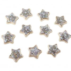 25pcs Gold Resin Stars Filled with Iridescent Glitter Sparkle Dots Flat Back Embellishments