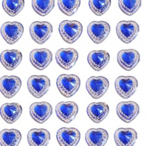 40 Royal Blue self adhesive acrylic hearts embossed mini crystals