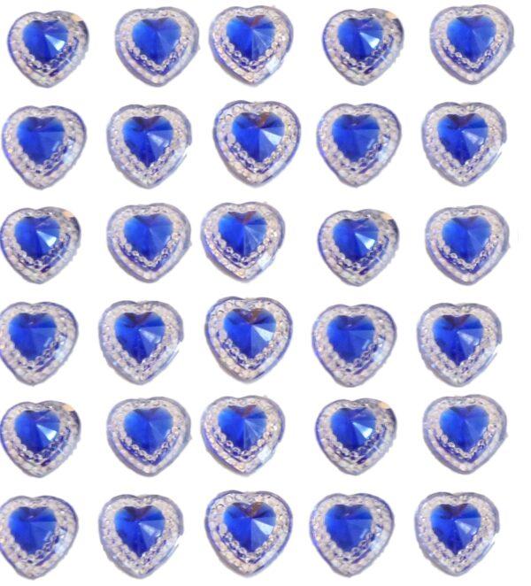 40 Royal Blue self adhesive acrylic hearts embossed mini crystals