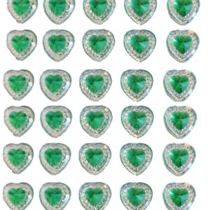 40 Green self adhesive acrylic hearts embossed mini crystals