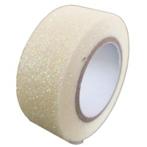 Iridescent White Glitter Washi Tape Decorative Masking Self Adhesive