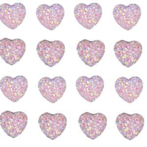 40pcs AB Pink Rainbow Heart Resin 12mm Crystals Diamante Rhinestones