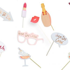 Hen Do Crew Hen Party Rose Gold Selfie Photo Booth Props Selfie Kit Team Bride - Pre-Glued