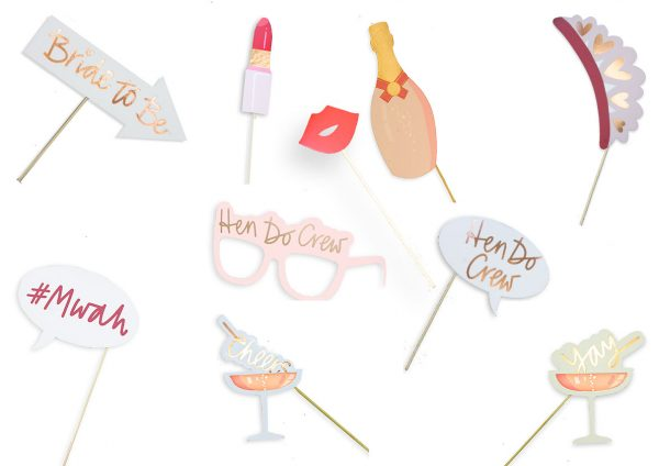 Hen Do Crew Hen Party Rose Gold Selfie Photo Booth Props Selfie Kit - Pre-Glued