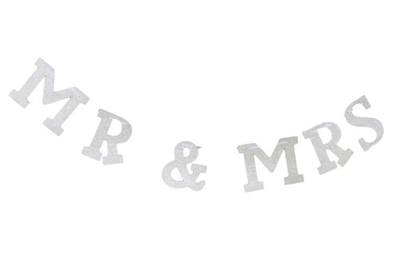 Mr & Mrs Silver Glitter Banner / Bunting For Weddings