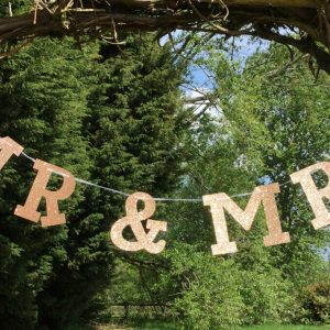 Mr & Mrs Rose Gold Glitter Banner / Bunting For Weddings