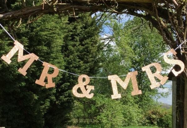 Mr & Mrs Rose Gold Glitter Banner / Bunting For Weddings