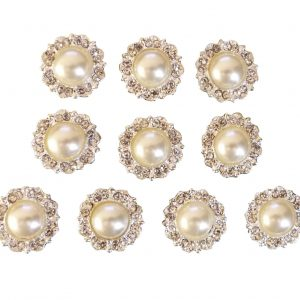 10 Antique Ivory Pearl and Diamante Round Embellishments Grade A Rhinestones