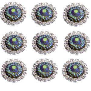 10 Diamante and Blue ab Resin Embellishments Grade A Rhinestones