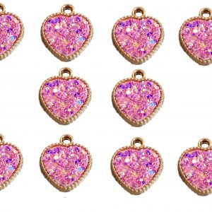 10pcs Pink Resin Hearts with Iridescent Sparkle Dots Double Sided