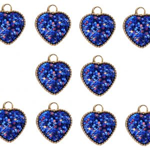 10pcs Royal Blue Resin Hearts with Iridescent Sparkle Dots Double Sided