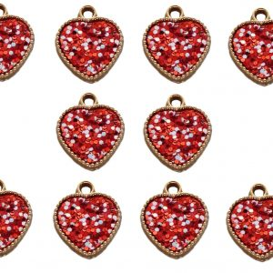 10pcs Red Resin Hearts with Red and White Sparkle Dots Double Sided