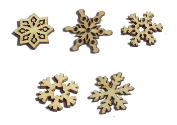 100pcs Rustic Wooden Christmas Snowflakes Confetti Embellishments for Crafting Decoration