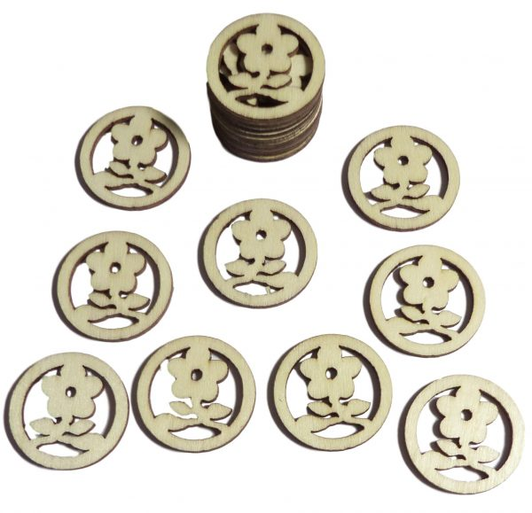 50pcs Rustic Round Wooden Flowers Confetti Embellishments for Crafting Decoration