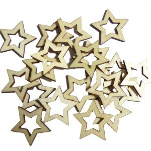 50pcs Rustic Wooden Star Shapes Wood Craft Embellishments for Crafting Decoration