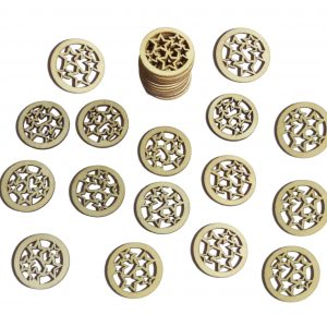 50pcs Rustic Round Wooden Circles with Stars Cutout Confetti Embellishments for Crafting Decoration