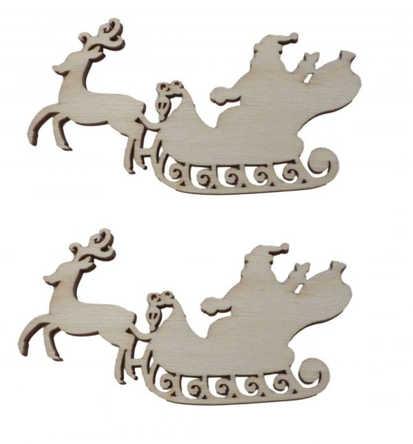 10pcs Rustic Wooden Reindeer with Santa On Sleigh Wood Craft Embellishments Decoration