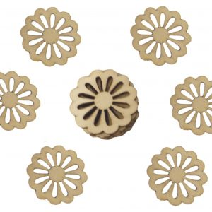 50pcs Rustic Wooden Daisy Flower Wood Craft Embellishments