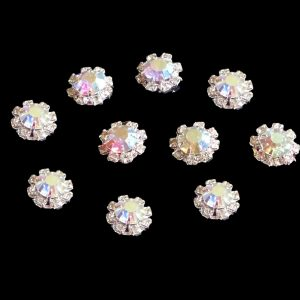 10 Small Round AB Diamante Embellishments With Large center stone Rhinestone 12mm