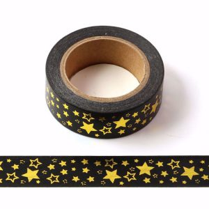 Black With Gold Foil Stars Washi Tape Decorative Masking Tape