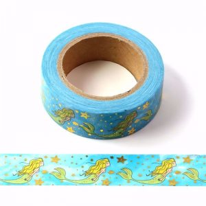 Mermaid In The Sea Washi Tape With Gold Foil Embossing