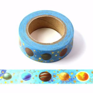 Universe Planet and Stars Washi Tape With Gold Foil Embossing