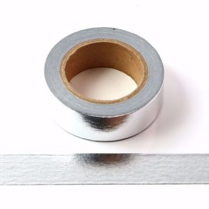 Silver Foil Washi Tape Decorative Self Adhesive Masking Tape 15mm x 10m