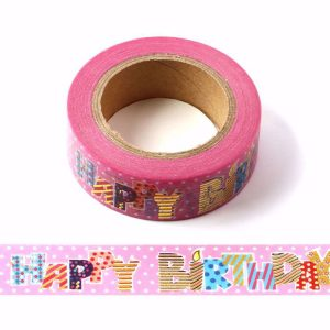 Pink Happy Birthday Decorative Washi Tape Multi Colour Letters
