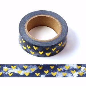 Dark Blue Washi Tape With White Clouds and Gold Foil Hearts