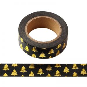 Black With Gold Foil Christmas Tree Washi Tape Decorative Masking Tape