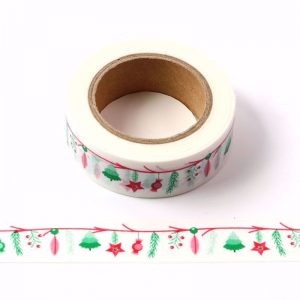 Christmas Washi Tape White With Colourful Red and Green Theme