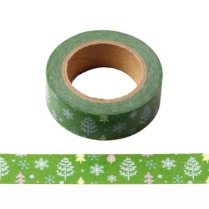 Snow Forest Green With White Christmas Trees & Snowflakes Decorative Washi Tape