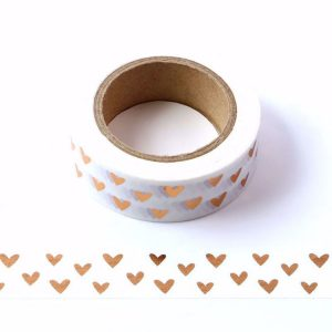 White With Rose Gold Foil Hearts Washi Tape Decorative Masking Tape