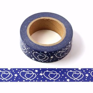 Blue With Silver Holographic Foil Double Hearts Washi Tape Decorative Masking Tape