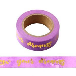 Purple Follow Your Dreams Gold Foil Motivational Decorative Washi Tape