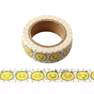 Yellow Emoji Iridescent Sparkle Glitter Washi Tape