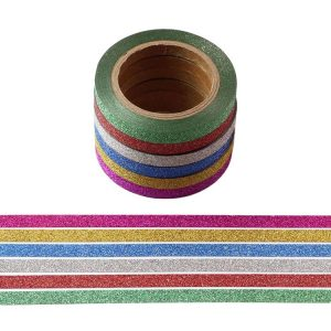 Skinny 5mm Non Shed Mini Glitter Washi Tape 6 Rolls of Multi Colours