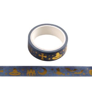 Halloween Ghost Washi Tape Blue with Gold Foiling