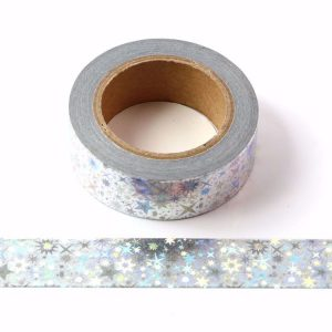 Holographic Stars Silver Foil Washi Tape